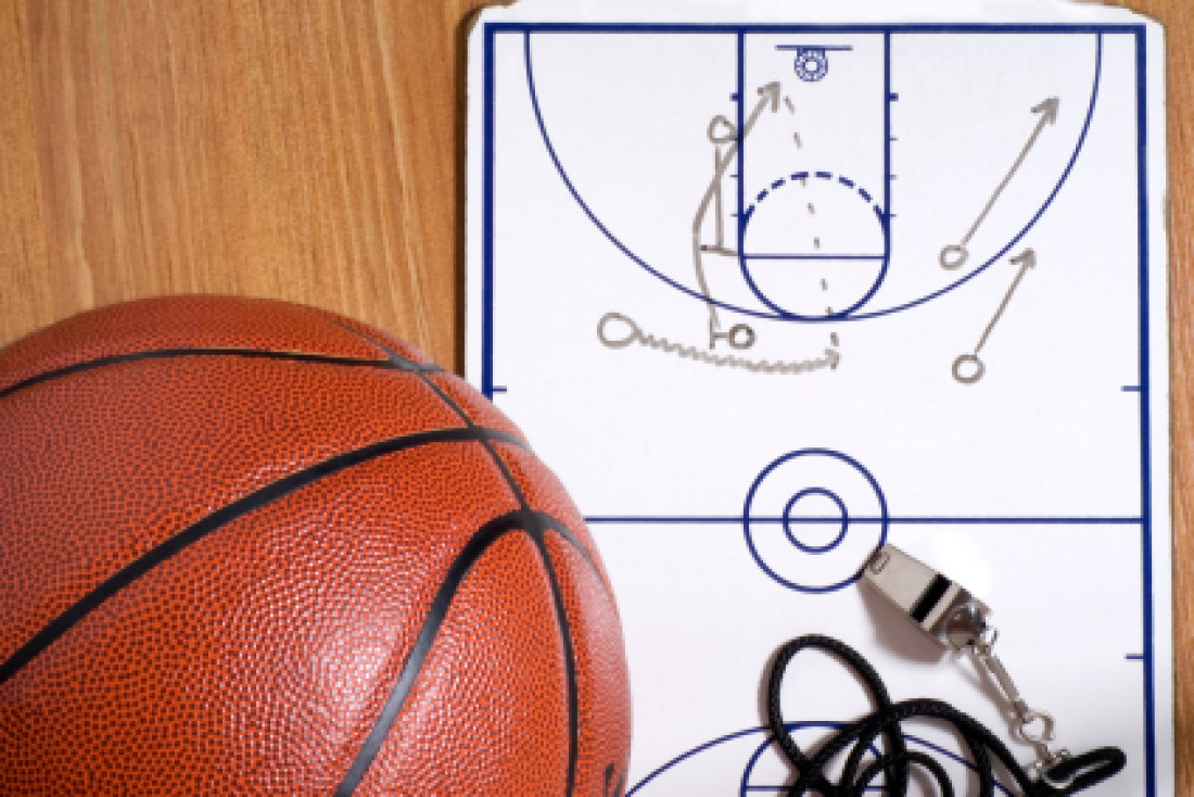 Basketball, Whistle and Clipboard with Alley-oop Play